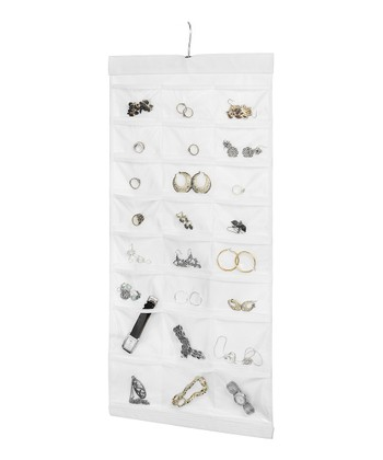 White 48-Pocket Hanging Jewelry Organizer