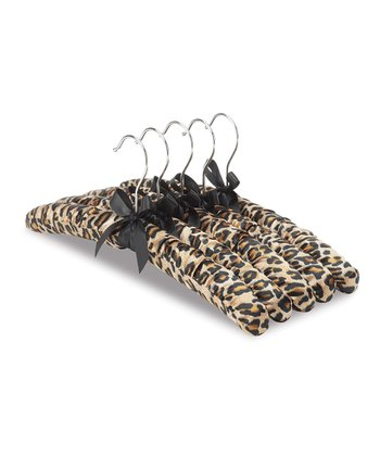 Leopard Padded Hanger - Set of Five
