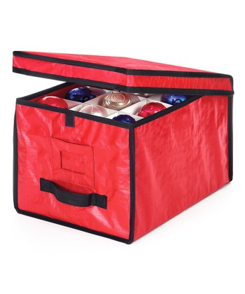 Red & Black Rugged Ornament Storage Box