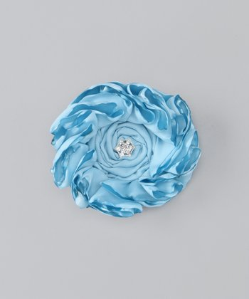 Baby Blue Satin Flower Clip