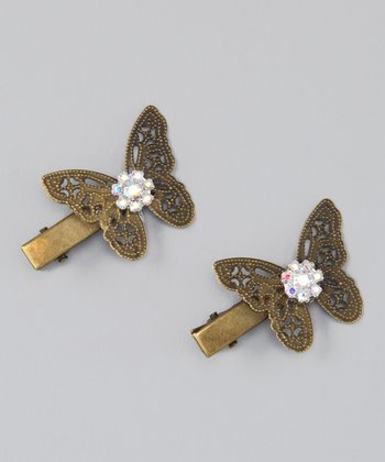 Bronze Butterfly Clip Set