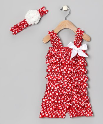 Red & White Polka Dot Bow Romper & Headband - Infant & Toddler