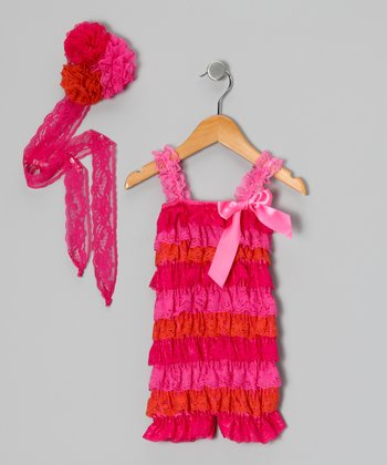 Hot Pink Lace Romper & Flower Trio Headband - Infant & Toddler