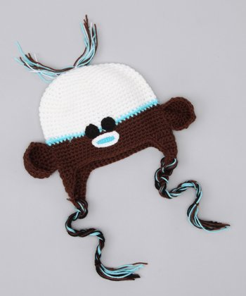 Blue & White Monkey Earflap Beanie