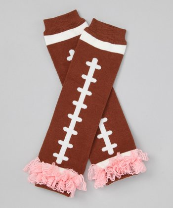 Brown & Pink Football Leg Warmers