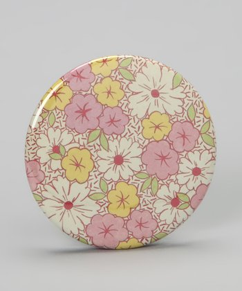 Pink & Yellow Floral Pocket Mirror
