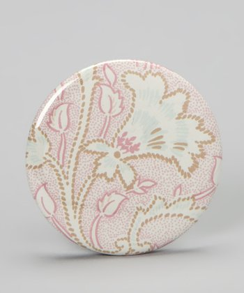 Pink & White Brushstroke Pocket Mirror