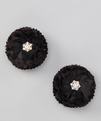 Black Rhinestone Puff Clip Set