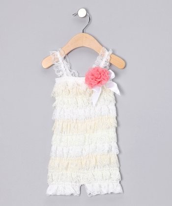 Ivory & Cream Romper & Flower Clip - Infant