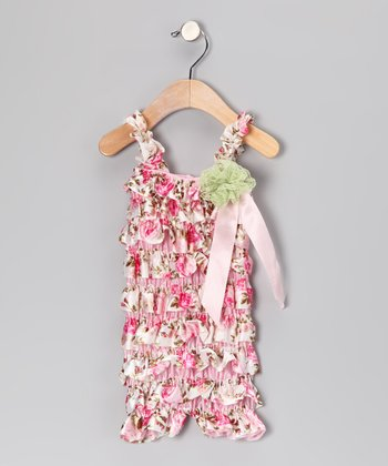 Pink Rose Ruffle Romper & Flower Clip - Infant & Toddler