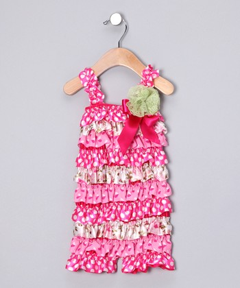Pink Satin Ruffle Romper & Flower Clip - Infant