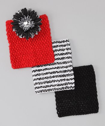 Red, Black & White Zebra Headband Set
