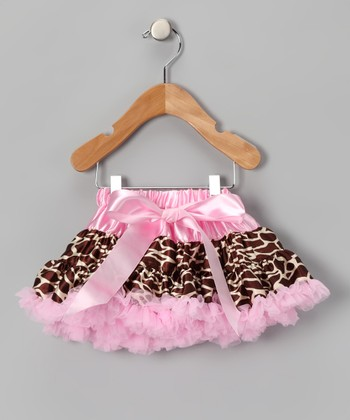 Pink & Brown Bow Giraffe Pettiskirt - Infant, Toddler & Girls