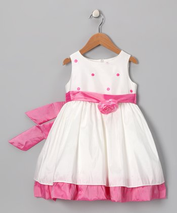 White & Pink Polka Dot Party Dress - Girls