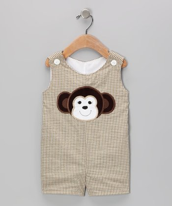 Khaki Monkey Gingham Shortalls - Infant & Toddler