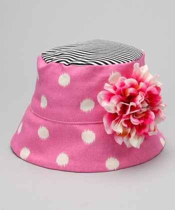 Pink & Ivory Polka Dot Flower Bucket Hat
