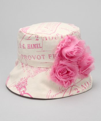 Pink & Ivory Paris Postcard Rosette Bucket Hat