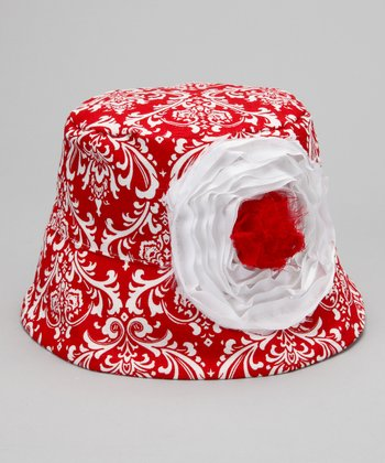 Red & White French Damask Bucket Hat