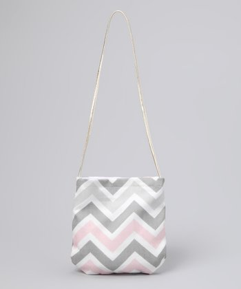 Wiggy Studio Gray & Pink Chevron Petit Purse