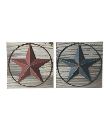 Red & Blue Wall Plaque Set