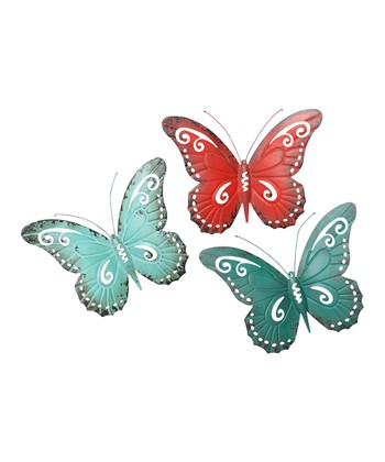 Teal, Aqua & Red Butterfly Wall Art Set
