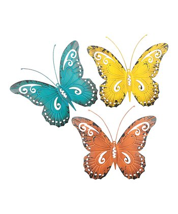Turquoise, Yellow & Orange Butterfly Wall Décor Set