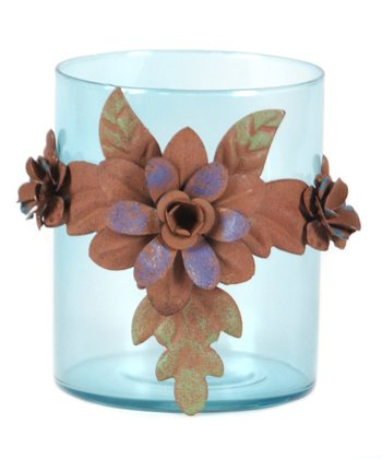 Blue Floral Glass Container