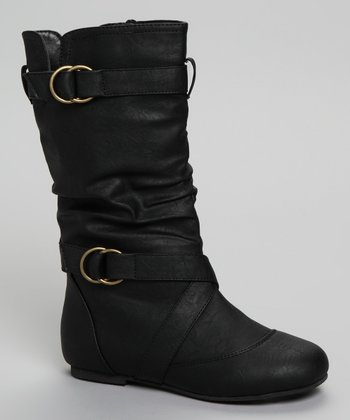 Black Buckle Faux Leather Kali Boot