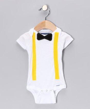 Black Bow Tie & Yellow Suspender Bodysuit - Infant