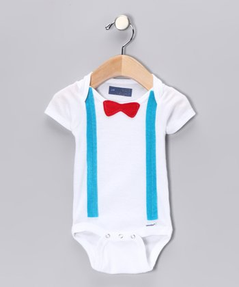 Red Bow Tie & Teal Suspender Bodysuit - Infant