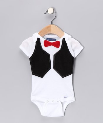 Red Bow Tie & Black Vest Bodysuit - Infant
