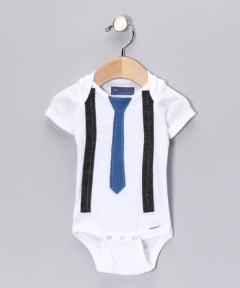 Blue Skinny Tie & Gray Suspender Bodysuit - Infant