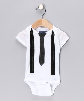Gray Skinny Tie & Black Suspender Bodysuit - Infant