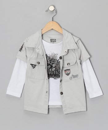 Gray Snap Layered Top - Boys