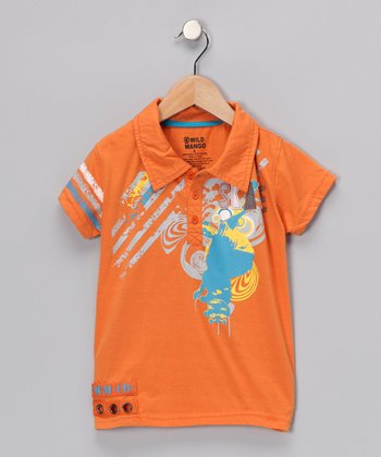 Orange 'Skate' Polo - Toddler & Boys