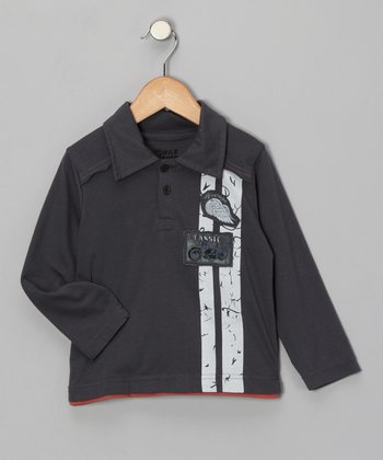 Charcoal 'Classic' Motorcycle Polo - Toddler
