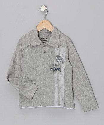 Gray 'Classic' Motorcycle Polo - Toddler & Boys