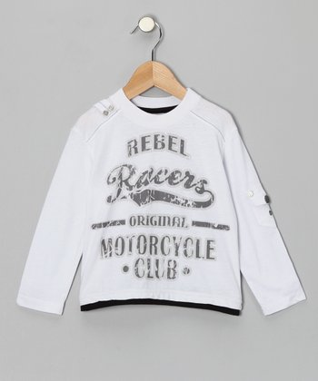 White 'Motorcycle Club' Tee - Toddler & Boys