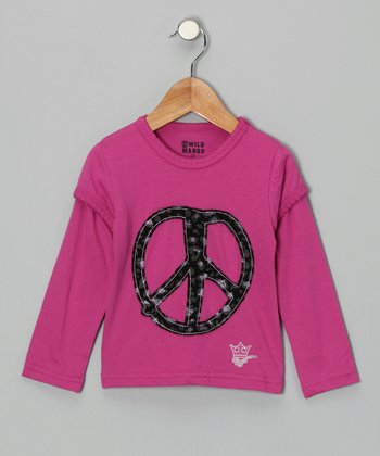 Fuchsia Peace Layered Tee - Toddler & Girls