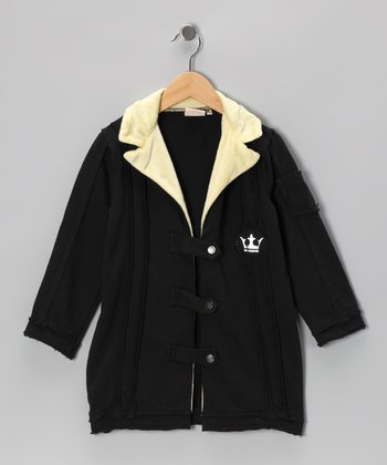 Black Fleece Collar Jacket - Toddler & Girls
