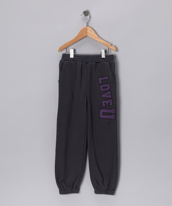 Charcoal 'Love U' Sweatpants - Toddler