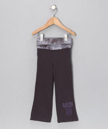 Charcoal 'Love U' Yoga Pants - Toddler & Girls
