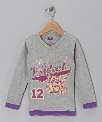 Charcoal 'Hollywood Wildcats' V-Neck Tee - Toddler & Girls