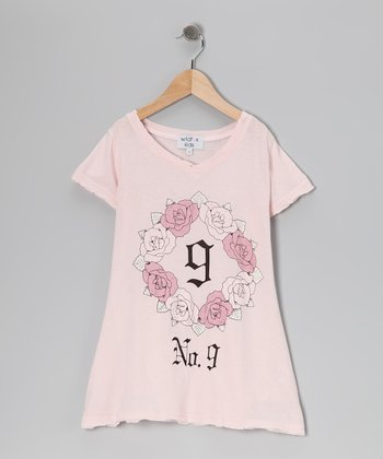 Pink Floral 'No. 9' V-Neck Tee - Girls
