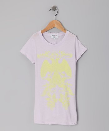 Lavender & Yellow Crewneck Tee - Girls