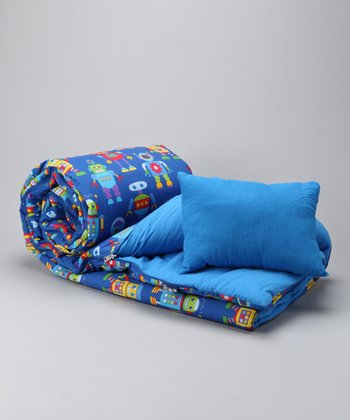 Blue Robots Sleeping Bag