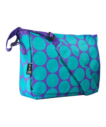 Aqua Big Dot Kickstart Messenger Bag