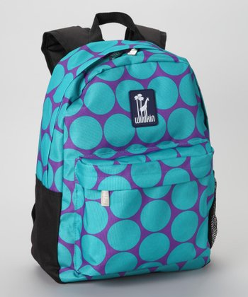 Aqua Big Dot Tagalong Backpack