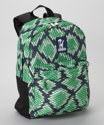 Green Snakeskin Tagalong Backpack