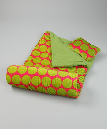 Pink & Green Polka Dot Sleeping Bag